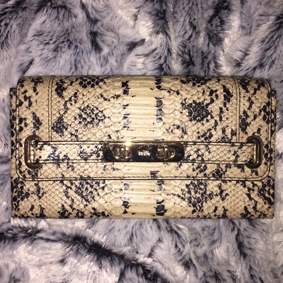Python Embossed Exotic Swagger Wallet Clutch NWT